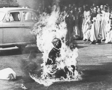 Buddhist monk Thich Quang Duc sets himself ablaze in protest against the persecution of Buddhists by the South Vietnamese government. (Malcolm W. Browne)