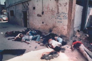 The war in Lebanon: The aftermath of the massacre of Palestinians by Christian Phalangists in the Sabra and Shatila refugee camps. (Robin Moyer)